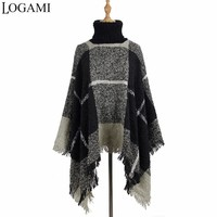 LOGAMI Autumn Winter Poncho Knitting Turtleneck Plaid Women Poncho Batwing Sleeve Long Ponchos And Capes Sweater Pullovers