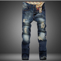 Jeans Ripped Holes Men Slim Rinsed Denim Jeans [6541744003]