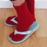 Women Tabi Socks, Red Split Toe Socks, Flip Flops Socks, Japanese Style Socks, Lace Hand Knitted Thong Socks, Lace Socks