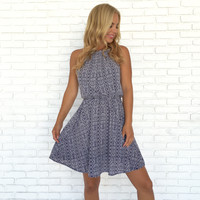Brisk Navy Blue Print Dress