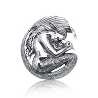 Bling Jewelry 925 Sterling Silver Mermaid Mother Child Pendant