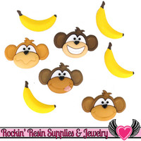 Jesse James Buttons 8 pc MONKEYS and BANANAS Buttons OR Turn them Into Flatback Decoden Cabochons