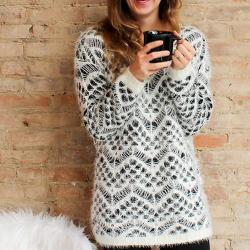 Everest Wool Sweater - Ivory/Black