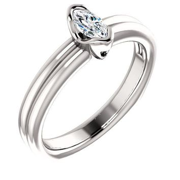 0.25 Ct Marquise Diamond Engagement Bezel-set Ring 14k White Gold