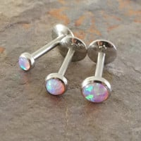Pale Light Pink Fire Opal 16 Gauge Cartilage Earring Tragus Monroe Helix Piercing You Choose Stone Size