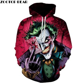 Joker Poker Men Hoodies Sweatshirts 3D Printed Funny Hip HOP Hoodies Novelty Streetwear Hooded Autumn Hoodie Male Tracksuits