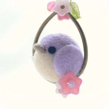 Needle felt bird pendant necklace, soft sculpture wool bird jewelry, purple bird on flower hoop pendant, whimsical jewelry, gift under 25