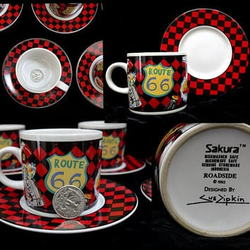 Espresso Cup, Set of Seven, Sakura Roadside, Travel Theme Wedding, Red and Black, Dishwasher Microwave Safe, Party Mug, Route 66, USA Diner
