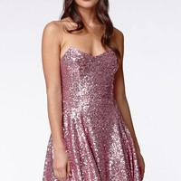 Lucca Couture Metallic Strapless Dress - Womens Dress - Pink