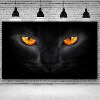 Black Cat With Bright Eyes Art Prints Poster Big Wall Picture Canvas Painting - No Frame