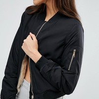 Missguided Shearling Lined Bomber Jacket at asos.com