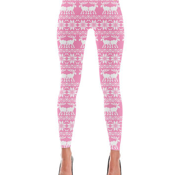 Ugly Holiday Moose Pattern Pink Leggings