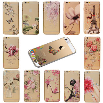 Colorful Flower Girls Pattern Transparent Cartoon Skin Back Hard Case Cover Protector For Apple iPhone 5C EC550