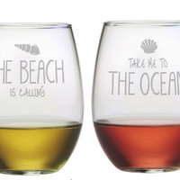 Take Me to the Beach  Stemless Wine Glass - Set of 4