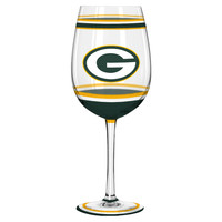 Green Bay Packers Wine Glass - 18oz Brush Painted
