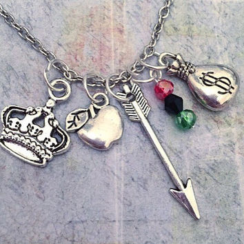 Outlaw Queen Charm Necklace - Fairytale Jewelry - Once Upon A Time Jewelry - OUAT Jewelry - Fandom Jewelry