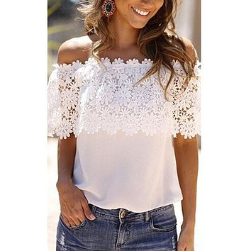 Summer Women's Off The Shoulder Casual Tops petal sleeve Blouse Lace Floral Chiffon F05