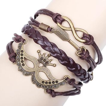 Personality Ornaments Mask 8 Words Alloy Weaving Leather Rope Bracelet