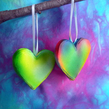 Unique Heart Ornament Sugar Fun Made To Order Colorful Air Brush Painted Weddings Valentines Love Christmas Custom Ornament Cake Topper