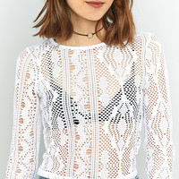 Light Before Dark White Patterned Airtex Cropped Top   Urban Outfitters