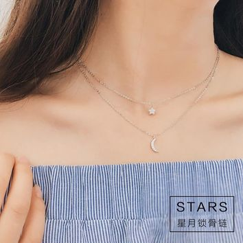 925 sterling silver long star moon necklaces pendant fashion sterling-silver-jewelry statement necklace for Women