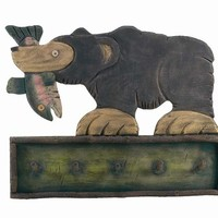 Large Trout and Bear Wall Coat Rack - 40""