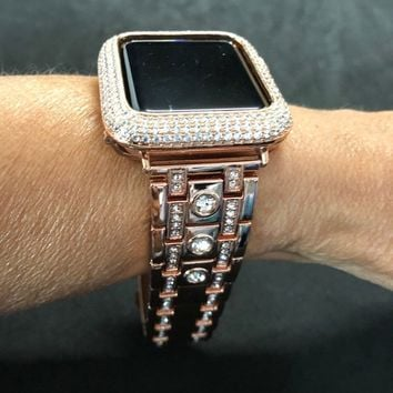 Rose Gold Apple Watch Band Mens Womens Rhinestone Crystals 38mm/40mm 42mm/44mm Series 1 2 3 4/Case Cover Bezel Lab Diamonds CZ's Bling