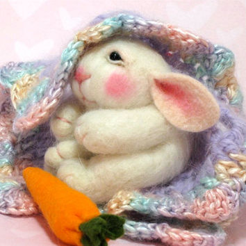 Needle Felted Animal Tutorial / Needle Felted Pattern / Needle Felted Bunny / Needle Felting / Wool Roving / Wool Fleece / Pattern