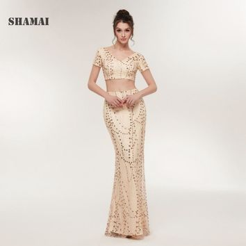 SHAMAI Mermaid Long Evening Dresses V-Neck  Sequined Party Dress Sexy Two Pieces Prom Gowns  Fast Shipping Robe De Soiree