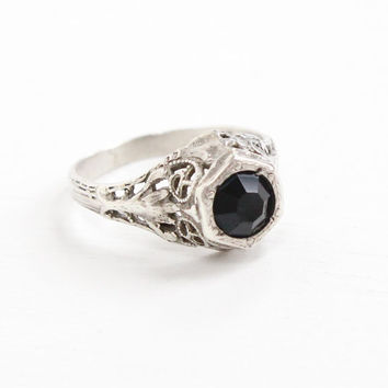 Antique Sterling Silver Art Deco Simulated Sapphire Ring - 1920s Size 6 Filigree Dark Blue Glass Stone Jewelry