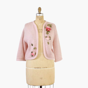 Vintage 60s CARDIGAN / 1960s 3-d ROSES Pink Felt Flowers Wool Cardi Sweater M - L