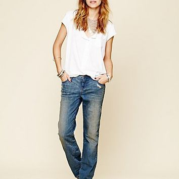 Free People Womens Low Rise Relaxed Skinny