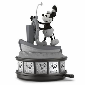 Disney Mickey Mouse Steamboat Willie 90th Anniversary Musical Ornament With Light and Motion