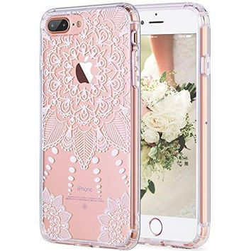 iPhone 7 Plus Case,White Henna Mandala Case,Clear Crystal Panel With TPU Bumper Protective Back Phone Case for Apple iPhone 7 Plus 5.5inch , H-01