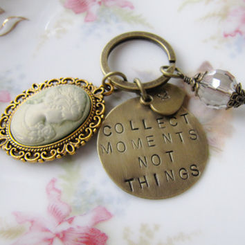 Moments Saying keychain, Hand Stamped Saying Quote, Personalized Metal Key Chain, for her, Europe