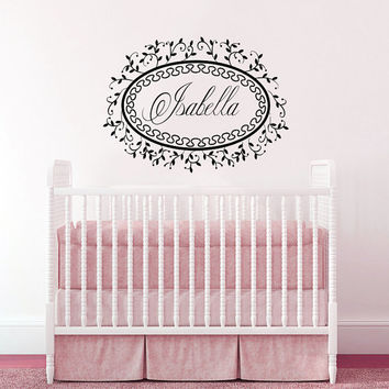Wall Decal Name Girls Vinyl Sticker Personalized Custom Decals Art Mural Monogram Wall Decals Nursery Baby Frame Princess Name Girls AN348