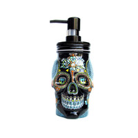 Painted Skull: Hand painted glass Skull shaped Soap Dispenser Black and green Sugar skull Painted jar Skull art
