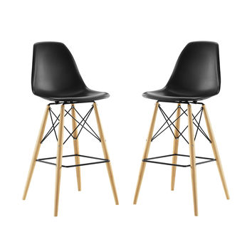 Pyramid Dining Side Mid-Century Modern Bar Stool Set of 2