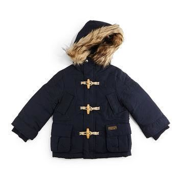 Faux-Fur-Trim Hooded Down Toggle Parka, Aviator Navy, Size 2T-7,