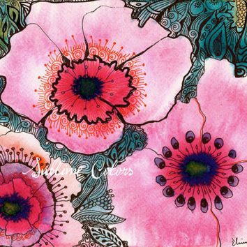 "Art print from Original watercolor painting by Elina Lorenz ""Pink Poppy Flowers"""