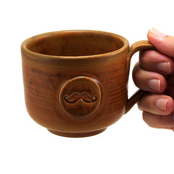 Mustache Mug: Brown Ceramic Mug, Cup, Unique Pottery Gift for Men, Valentine's Day Gift for Guys by MiriHardyPottery