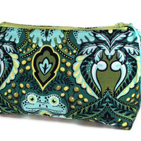 Makeup Cosmetic Bag, Pencil Case, Zippered Pouch Blue Green Frog