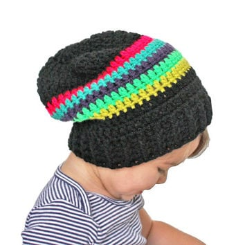 Black with Neon Stripes Crochet Slouch Baby Toddler or Childrens Beanie Any Size 0-8 Years Fitted or Slouchy style