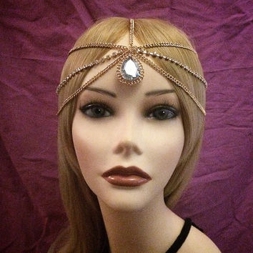 1920s inspired gatsby crystal rhinestone gold flapper headchain headband head piece 20s style headpiece head chain piece 1920's 20's hair