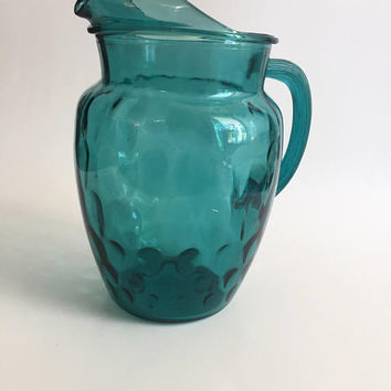 Teal Glass Pitcher, Vintage Aquamarine Glass Pitcher, Iced Tea Pitcher