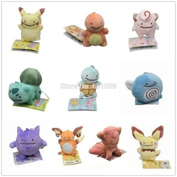 "10 Styles 4"" Charmander Squirtle Bulbasaur Clefairy Gengar Poliwag Ditto Metamon Keychain Plush Doll Toy"