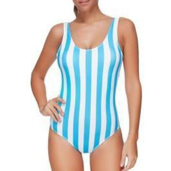 Breathable Blue And White Striped One Piece Bathing Suit
