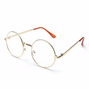 Men Women Retro Big Round Metal Frame Clear Lens Glasses Spectacles Eyeglass
