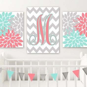 Coral Aqua Nursery Decor, Coral Aqua Monogram Wall Art, Baby Girl Nursery Art, Girl Flower Monogram Nursery Decor, Set of 3, Canvas or Print