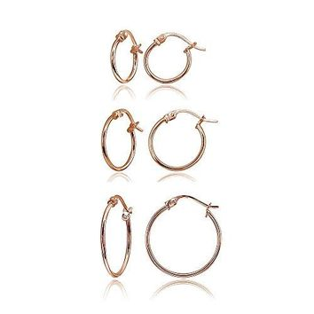 Rose Gold Flashed Sterling Silver Tiny or Small High Polished Round Thin Lightweight Unisex ClickTop Hoop Earrings Choose a Size